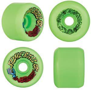 Best Wheels for Rough Roads and Terrains – Santa Cruz Slime Ball Vomits Skateboard Wheels (60mm 97a)